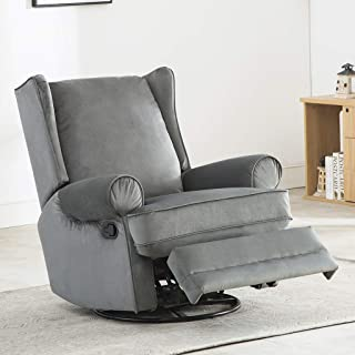DFA Swivel Rocker Recliner Chair with Rotating 360 Swivel Glider Sofa Recliner for Living Room - Gray