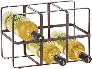 mDesign casier range-bouteilles pratique – étagère à vin au design élégant – casier à bouteilles en métal pour jusqu'à 6 b...