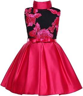 ガールズウェディングドレス ガールズドレスボウプリンセススカートプリントペチコートワンピース子供ドレス 誕生日イブニングボールガウン (色 : 赤, サイズ : 140cm)
