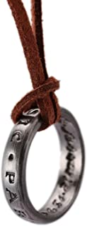 PARIS LOVER Unisex Uncharted 4 Nathan Drake Engraved Ring Pendant Necklace with Adjustable Brown Leather Chain