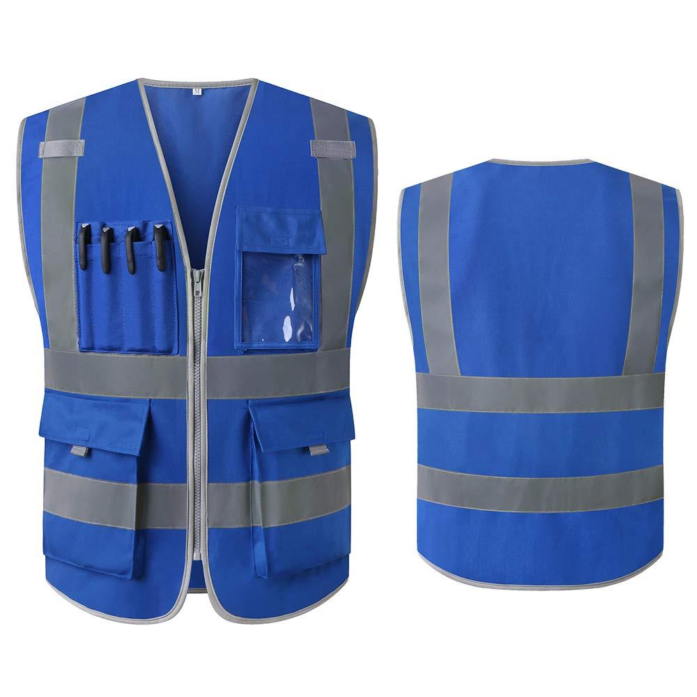 3XL, Azul Chalecos de seguridad Alta Visibilidad