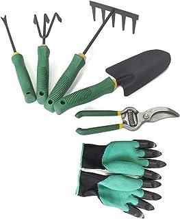 KKmoon Garden Tool Essential Gardening Tools Trowel Cultivator Pruning Shear 5-Teeth Rake 3 Prongs Cultivator Weeding Tool...