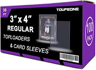 """Toupeone 3"""" x 4"""" Top Loaders and Penny Sleeves Hard Plastic Card Sleeves Card Protectors for Pokemon, Baseball, Sports, Tr..."""