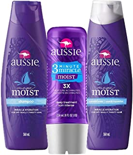 Kit Aussie Mega Moist 360ml+ Condicionador 360ml + Tratamento Aussie Moist 3 Minutos Miraculosos 236ml