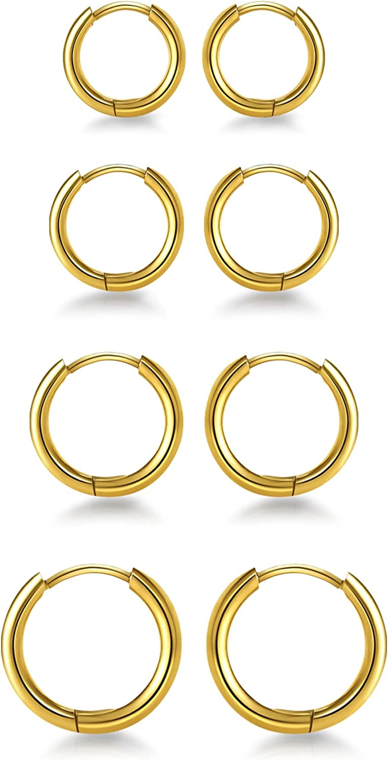 CLOIOO 4 Pairs Classic 14K Gold Plated Hoop Me for Earrings Women Max 67% OFF Huggie