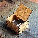 Cajas Musicales Regalos de madera antigua de la música de la manivela fiesta de Navidad de la caja de la caja de música de rosas Pantera Reina Juego de Tronos Dragon Ball AMOR DAD MOM Caja de música