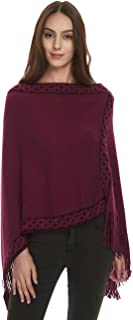 Ferand Women's Crisscross Embroidered Poncho Sweater Stylish Fringe Cape Shawl