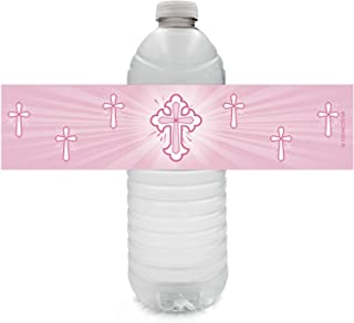Pink Baptism Party Water Bottle Labels for Girl - Religious Cross - 24 Stickers