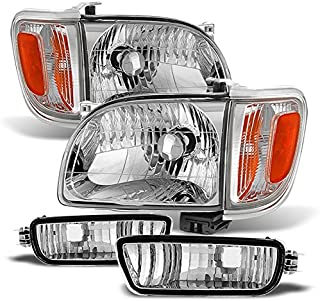 For 01-04 Toyota Tacoma Pickup Truck Headlights Front Lamps + Corner Signal Lights 4 Pieces Set