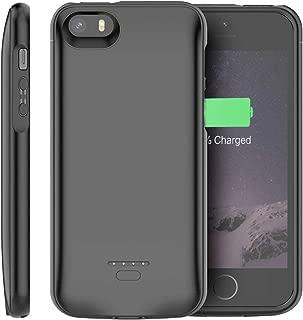 【Happon】 iPhone SE 5 5S 対応バッテリケース 4000mAh 超便利 急速充電 全面保護ケース フォンケースパック拡張バッテリバックアップ充電用保護ケースカバーシェル対応 仕事/旅行/ゲーム用 (ブラック)