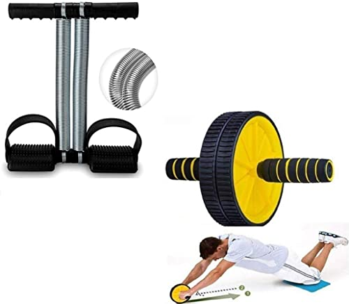 EVERYONIC Double Spring Tummy Trimmer and Double Wheel AB Roller Combo for Abs Core Abdominal Workout Back Exercise S...