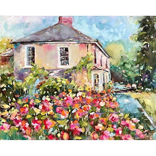 Casa de flores DIY pintura por números paisaje pintado a mano pintura al óleo obra de arte lienzo dibujo decoración de pared A18 60x75cm