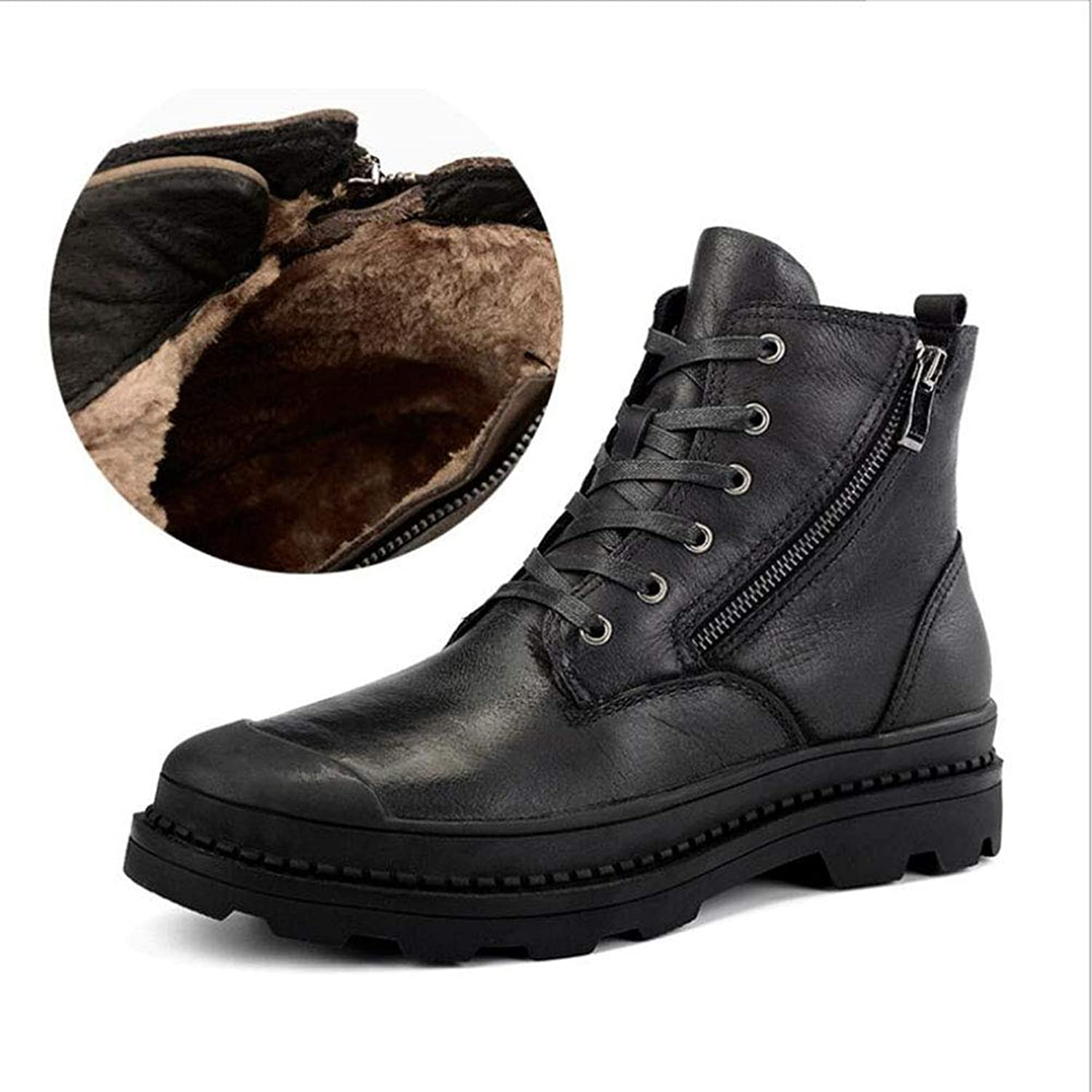 Men's Boots,Spring Winter,Leather Martin Style,Comfort Cotton Boots,Running shoes,Athletic shoes, Outdoor Exercise Sneakers,Tooling shoes,Military Boots,A,38