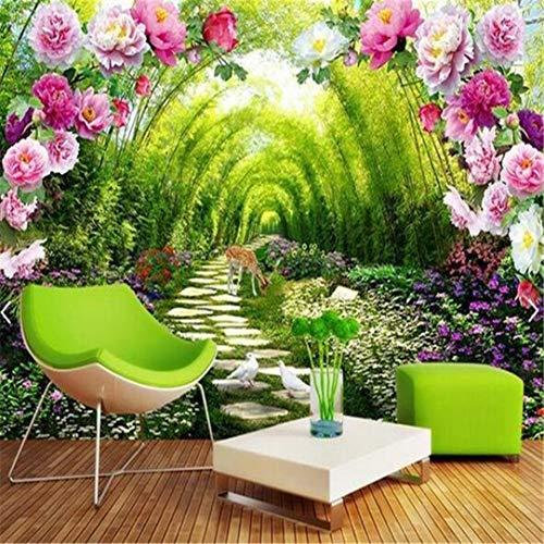 Behang 3D aangepaste foto Mural 3D behang tuin schaduw bloem deur decor schilderij 3D muurafbeeldingen wallpaper voor muren 3 D, 120 cm * 100 cm