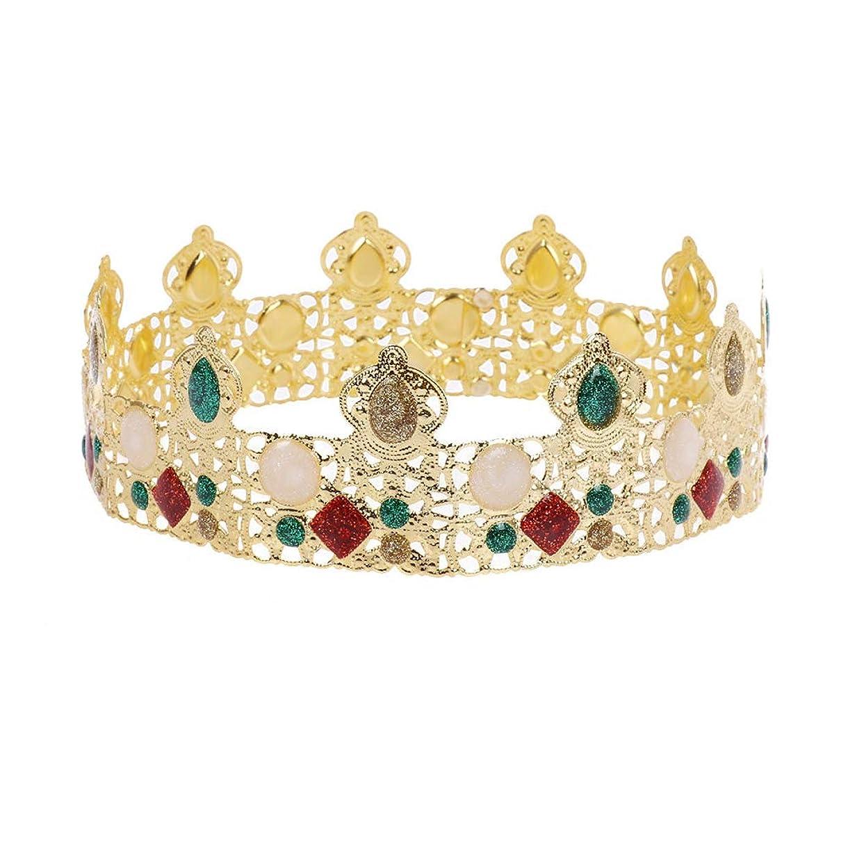コンテンポラリー主張シーサイドLURROSE 党誕生日のための王の王の金の王冠のラインストーンメンズティアラ