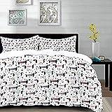 Yaoni Bettwäsche-Set, Mikrofaser,Hundeliebhaber, abstrakte handgezeichnete Dackel Welpen Silhouetten mit Spielzeug gepunkteten Design, schwarz weiß 1 Bettbezug 200 x 200cm + 2 Kopfkissenbezug 80x80cm