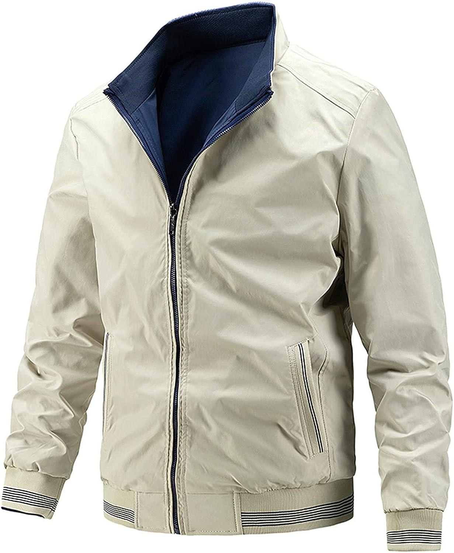 Men's Work Wear Lightweight Casual Bomber Jacket 2 in 1 Casual Long Sleeve Full Zip Shirt Jacket Outwear