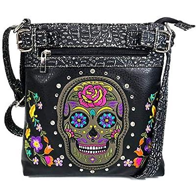 Justin West Embroidery Roses Floral Rhinestone Skull Tote Shoulder Concealed Carry Handbag Messenger Purse (Black Sugar Skull)