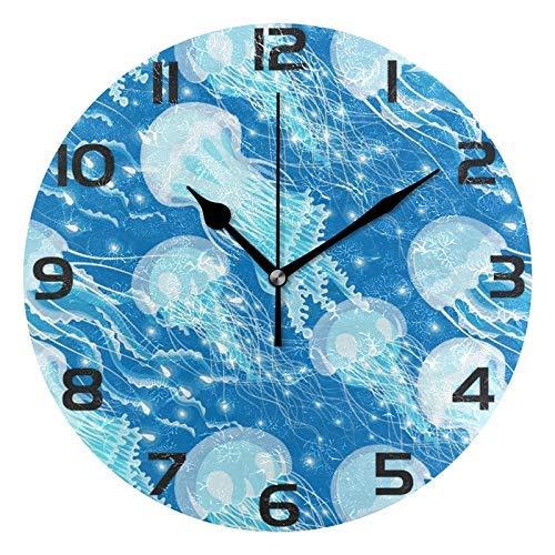 Orologio da Parete Rotondo con Meduse Blu Navy incandescente Orologio da Parete Decorativo Silenzioso Senza ticchettio per Ufficio a casa Art