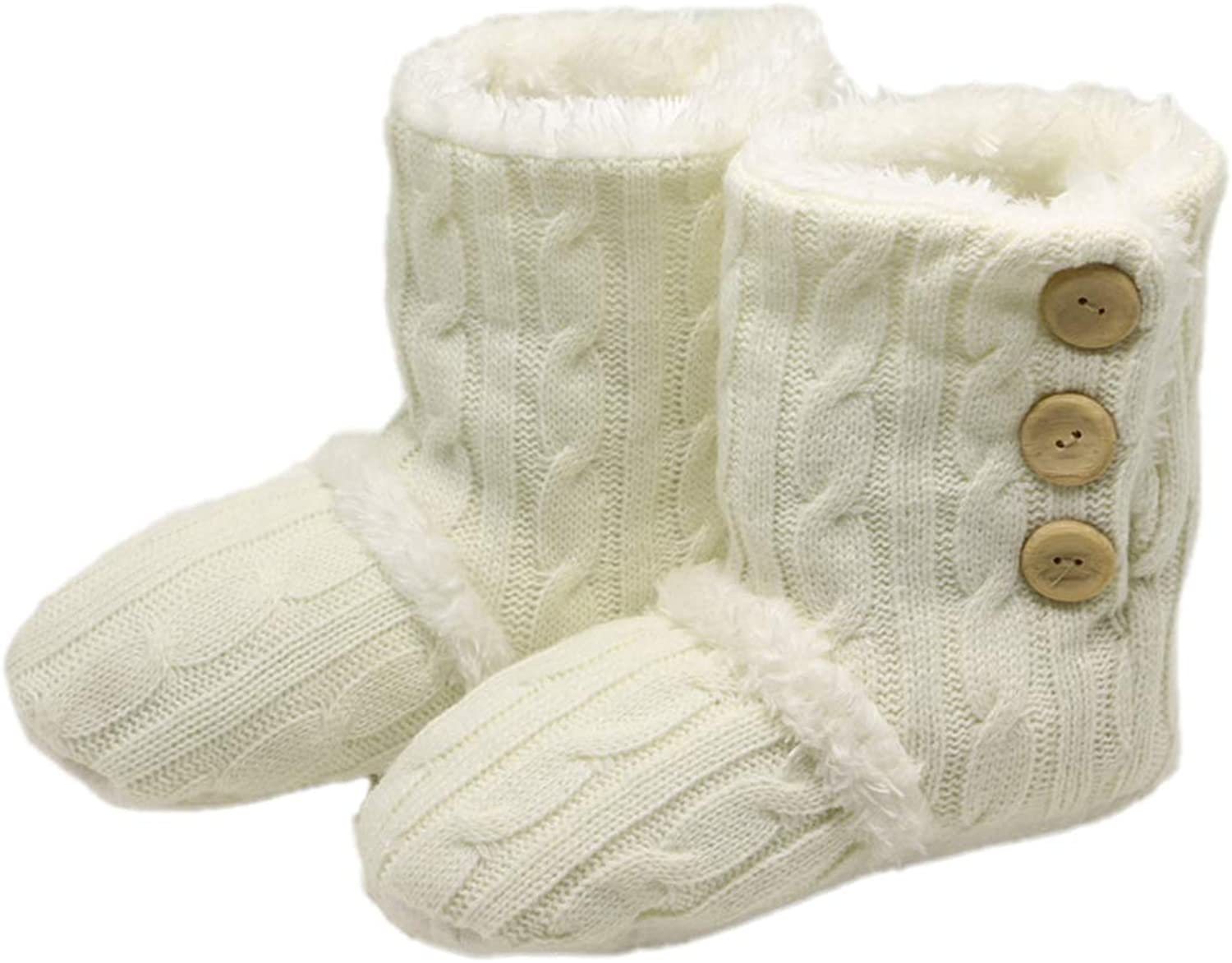 Winter Snow Boots Adult Button Warm Soft Knitting Wool Floor Non-Slip Plush Home Household Indoor shoes