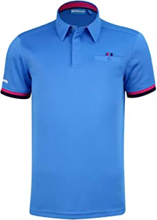 Bunker Mentality Mens Blue Duo Core Golf Polo Shirt - Blue Short Sleeve, Sports Polo Shirt, Moisture Wicking, SPF 50+