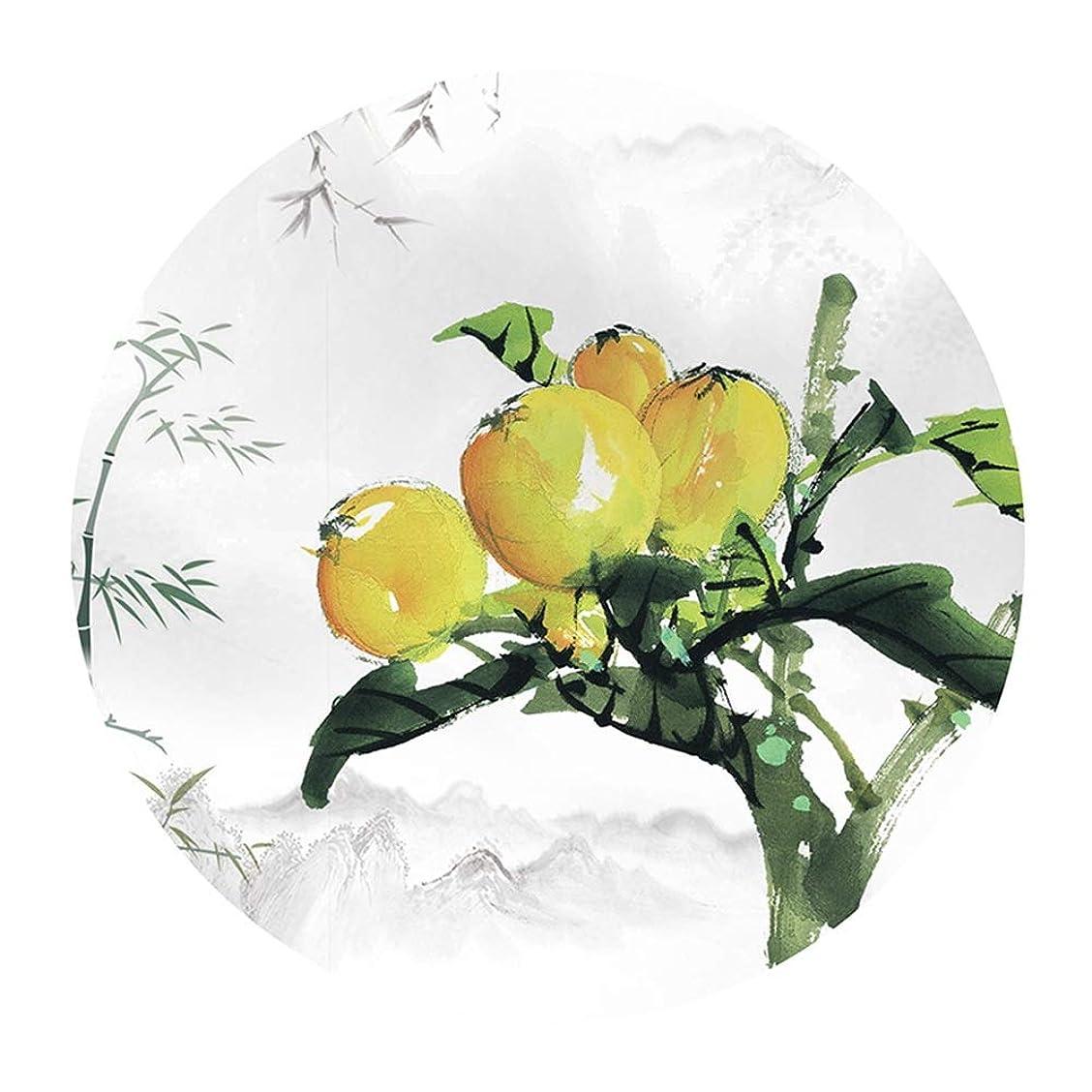 ウィスキー認証絶滅したTINGTING-ラグ,カーペット 新しい中国のラウンド古代レトロ古典的な農村植物の花の果実 (色 : オレンジ, サイズ さいず : 80)