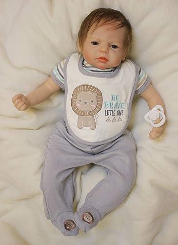 HOOMAI Lebensechte 22 Zoll 5cm Reborn Baby Junge Silikon Weiße Vinyl Babypuppe Nette Toddler Offene Augen Karikatur Kit Zubeh Geschenk