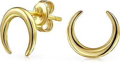 Stile tribale minimalista mezza mezzaluna luna corno orecchini per donna 14K oro placcato 925 argento sterling