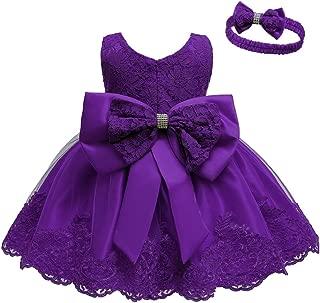 Baby Girls Formal Dress Bowknot Birthday Wedding Tutu Dress with Headwear