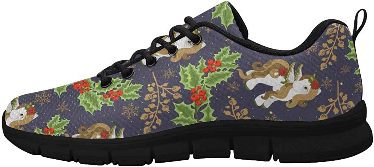 INTERESTPRINT Winter Unicorn Women's Running Shoes Mesh Breathable Sports Casual Shoes