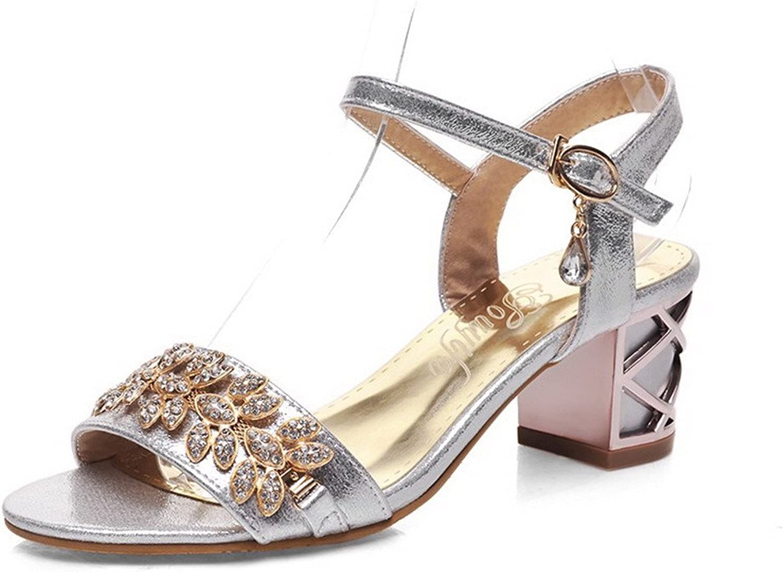 WeenFashion Women's Pu Solid Buckle Open Toe Kitten Heels Sandals