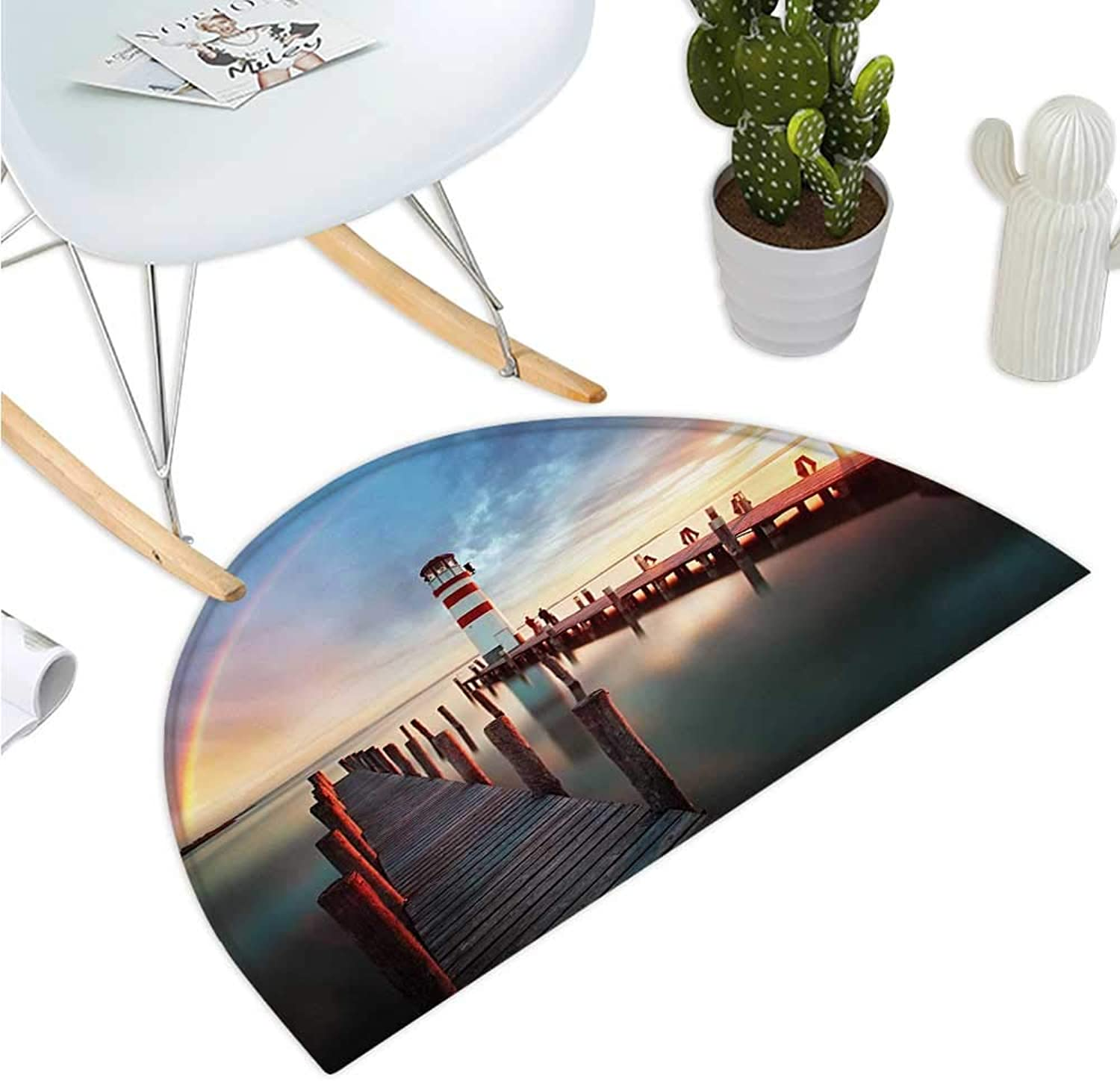 Lighthouse Semicircle Doormat Sunset at Seaside Wooden Docks Lighthouse Clouds Rainbow Waterfront Reflection Halfmoon doormats H 35.4  xD 53.1  Multicolor