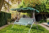WestWood BIRCHTREE <span class='highlight'>Garden</span> Metal Swing Hammock 3 Seater <span class='highlight'>Chair</span> Cushioned Bench Furniture Lounger Shelter Canopy Patio Outdoor SC01 Green