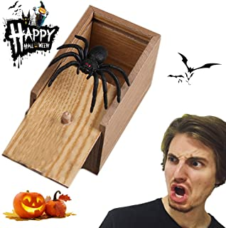 CiaoStore Spider Box Prank Scare, Handcrafted Wooden Surprise Box with Spider, Handmade Fun Practical Surprise Joke Boxes (A)