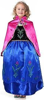Bascolor Disfraz Anna Frozen Niñas con Capa Princesa Ana Vestido Traje Princesa Anna para Halloween Cosplay Fiesta (4-5 años)