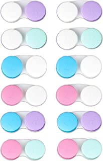 KISEER 12 Pack Colorful Case Lens Case Holder Box Holder Contenter Soak Storage Kit، 6 Color LId