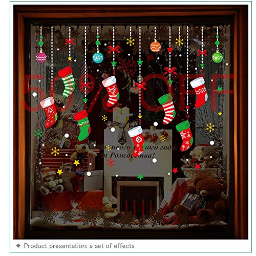 ONDY Christmas Garter Window Glass Decoration Stickers 2021 New Holiday Merry Christmas Removable Dress Up DIY Wall Stickers Decals for Living Room Bedroom Shop Window