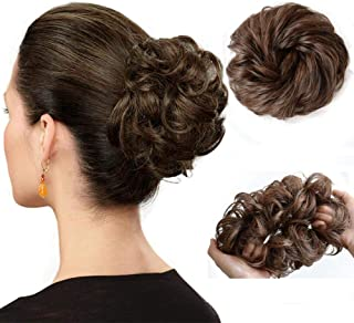 Hair Bun Extension Wavy Curly Messy Donut Hair Updo Ponytail Pieces Hairpiece for Women (2-30# Light Brown)
