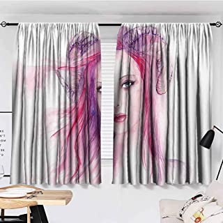 KAKKSW Thermal Insulated Tie Up Curtain, Gothic Decor, Sexy Grotesque Girl with Hair and Horns Made Color Effects Devil Paint Print, Thermal Insulated Blackout Curtains, 72