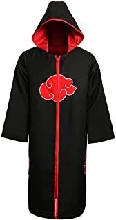 Unisex Akatsuki Organization Members Cosplay Cloak Halloween Cosplay Costume Uniform Ninja Robe with Headband
