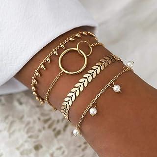 Yean Lot de 4 bracelets à perles style bohémien avec chaîne dorée pour femme et fille