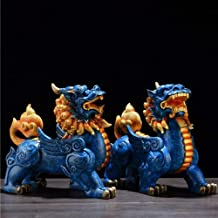 2Pcs/Set Feng Shui Statue,Wealth Prosperity Pi Xiu Pi Yao Statue,Good Luck Statue Ornamental for Office Home Blue 9inch
