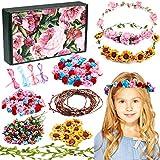vamei Kit para Hacer Corona de Flores DIY Diadema Flores Accesorios Pelo Guirnalda Flores Cintas Pelo Boda Fiesta Cumpleaños Actividades Creativas para Niña