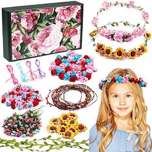 Vamei Blumenkranz Bastelset für Kinder Mädchen DIY Haarreif Blumen Basteln Haarschmuck Selber Machen Blumengirlande Blumen Haarband Hochzeit Geburtstag Party Mitgebsel