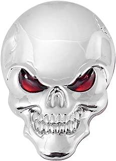 Universal 3D Chrome Silver Bone Red Eyes Metal Skull Emblem Sticker Decal Car Motorcycle Fender Hood