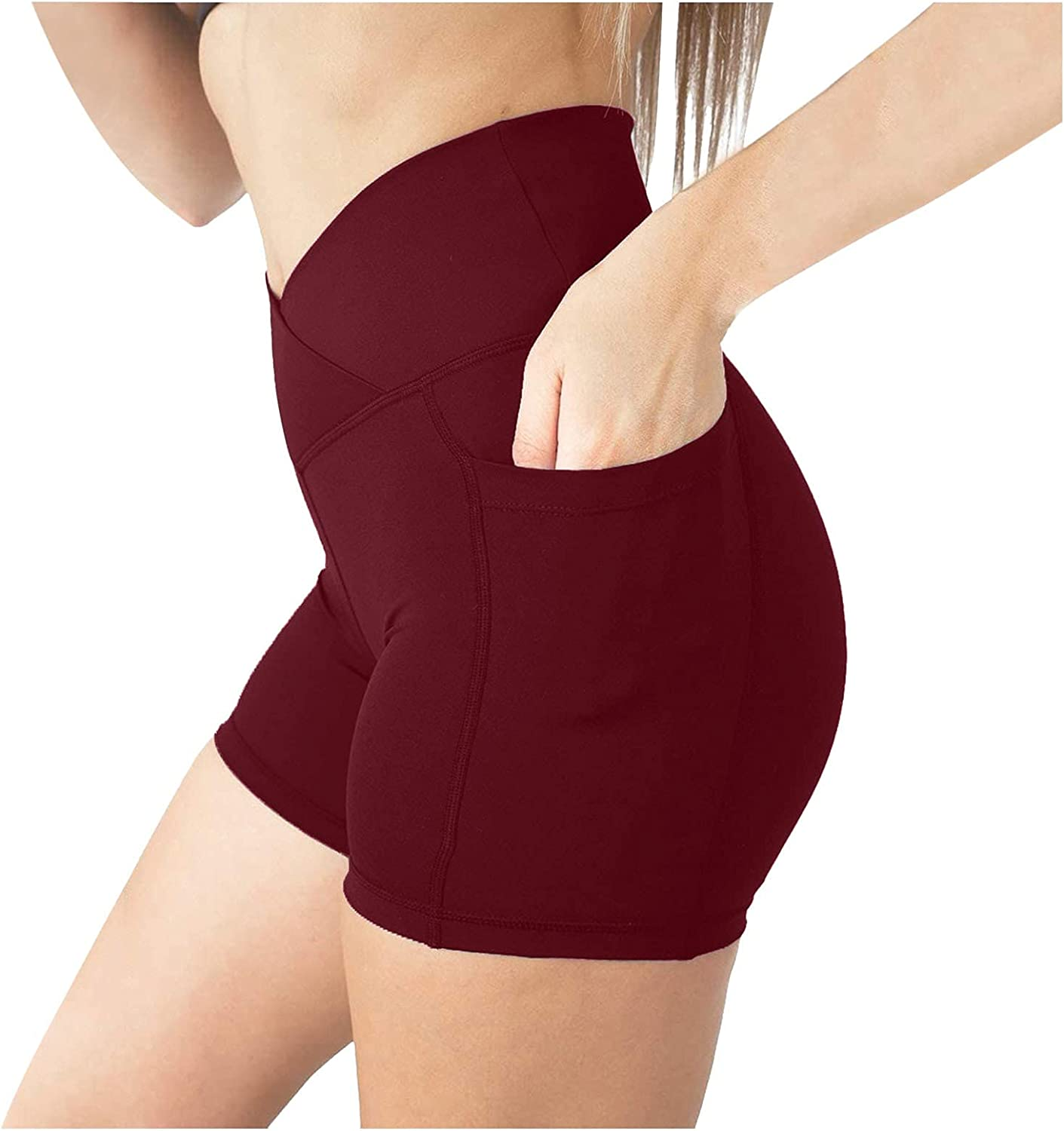 Exercise Dress for Women with Shorts, Summer Shorts for Women Linen High Waisted Shorts Casual Padded Bike Shorts