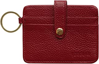 Womans Leather Credit Cards Holder Case RFID Blocking Minimalist Slim Front Pocket Wallets with Key Ring