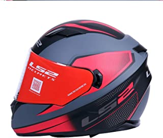LS2 Helmets - Stream Evo - Retake - Matt Cool Grey Red - Dual Visor Full Face Helmet - (X-Large - 590 MM)