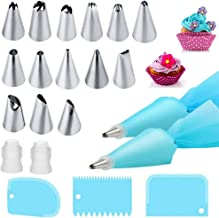 Piping Bags and Tips Cake Decorating Kits Supplies with 14 Stainless Steel Baking Supplies Icing Tips,2 Reusable Silicone ...