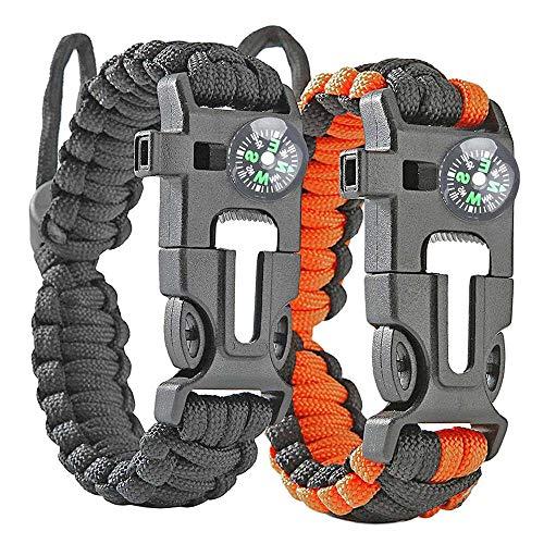 Donpow Survival-armband, survivaluitrusting met kompas Rescue Whistle Fire Starter voor wandelen, kamperen en jacht, 2 stuks